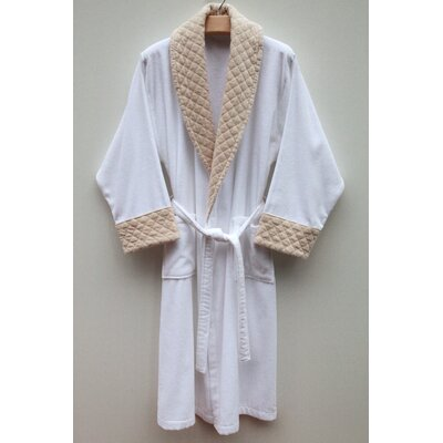 Linum Home Textiles Terry Velour Bathrobe with Diamond Details in Pure White and Bountiful Beige