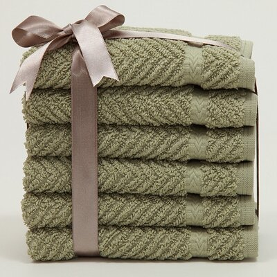 Linum Home Textiles Luxury Hotel & Spa Herringbone Weave 100% Turkish Cotton Wash Cloth (Set ...