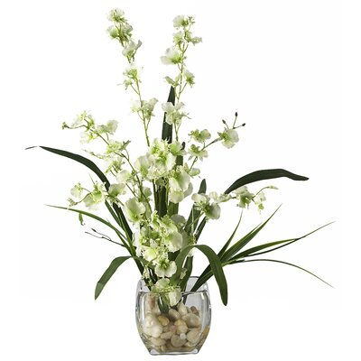 Nearly Natural Liquid Illusion Dancing Lady Silk Orchid Arrangement in Green