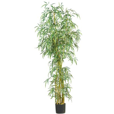 "Nearly Natural 84"" Curved Slim Silk Bamboo Tree in Green"
