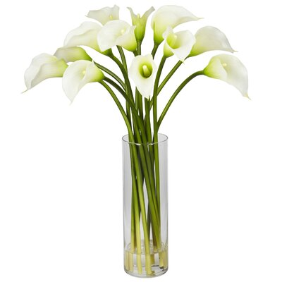 Nearly Natural Mini Calla Lily Flower Arrangement in Cream