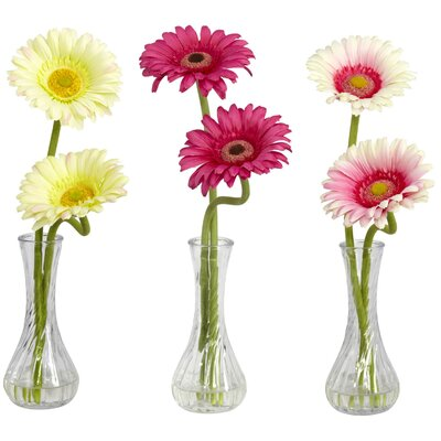 Nearly Natural Gerber Daisy in Cream / Pink / Burgundy with Bud Vase (Set of 3)