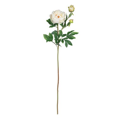"Nearly Natural 38.5"" Peony with Leaves Stem in White (Set of 12)"