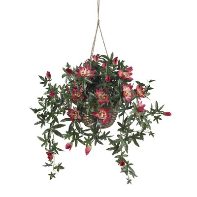 Nearly Natural Passion Flower Silk Hanging Basket