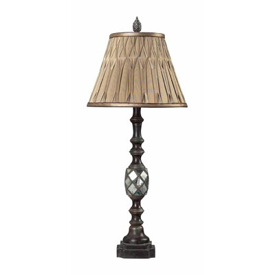 Sterling Industries Mirrored Table Lamp with Pinch Pleated Shade