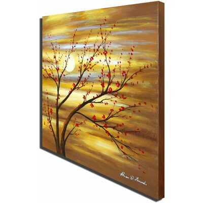 White Walls Hand Painted 'Red Bud Rhythm' Canvas Art
