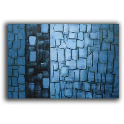 Hand Painted 'Blue Bark' Canvas Art in Blue