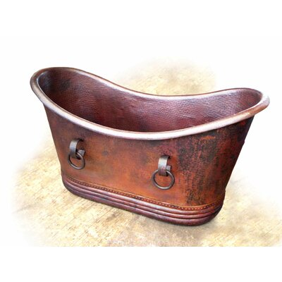 D'Vontz Isabella Small Copper Bath Tub with Rings