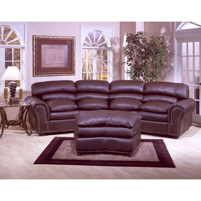 Omnia Furniture Williamsburg 3 Seat Leather Living Room Set