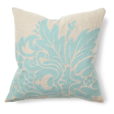 Villa Home Illusion Flora Pillow in Turquoise Embroidered