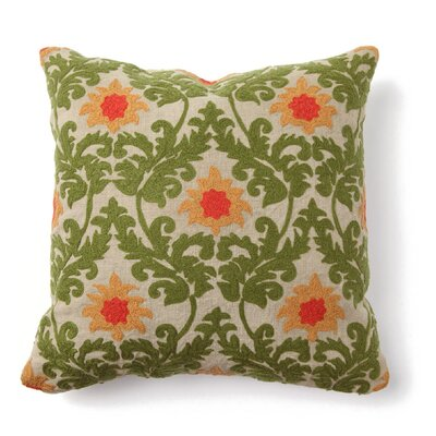 Villa Home Provence Tuscan Verdure Embroidered Pillow in Green