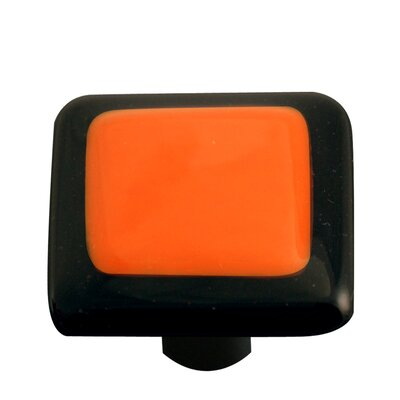 Borders Cabinet Knob in Opal Orange with Black Border