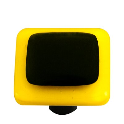Borders Cabinet Knob in Black with Sunflower Yellow Border