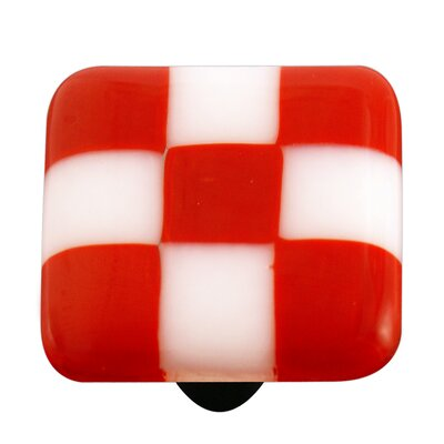 Hot Knobs Lil' Squares Cabinet Knob in Brick Red / White