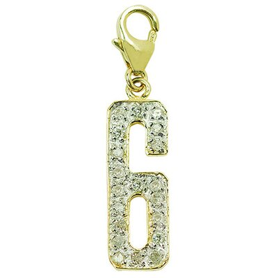 "EZ Charms 14K Yellow Gold Diamond ""6"" Charm"