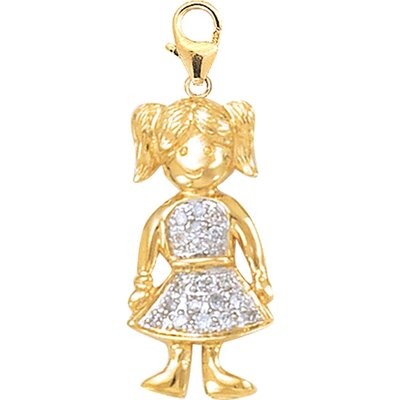 EZ Charms 14K Yellow Gold Diamond Pigtail Girl Charm