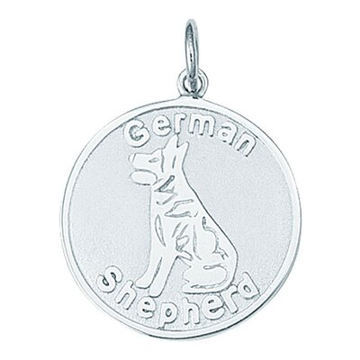 Sterling Silver German Shepherd Round Disc Charm