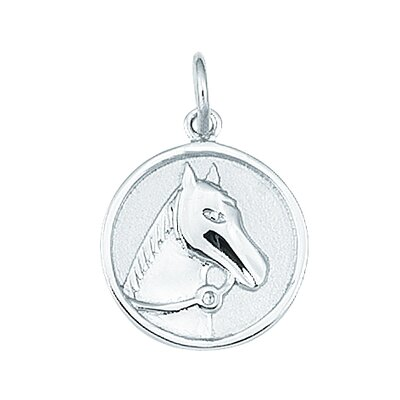 EZ Charms Sterling Silver Round Horse Head with Reigns Disc Charm