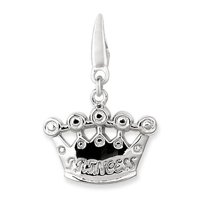 EZ Charms Sterling Silver Princess Crown Charm