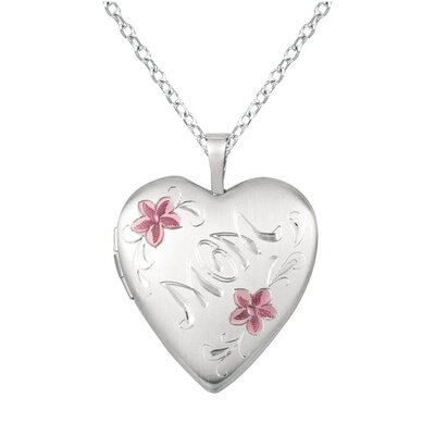 "EZ Charms ""Mom"" and Flower Heart-Shaped Locket Necklace"