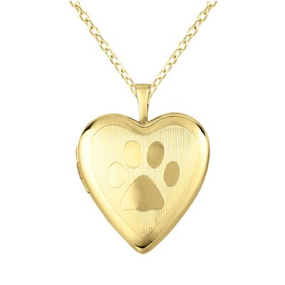 Paw-Print Heart Locket Necklace