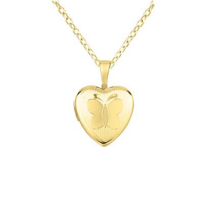 Butterfly Heart-Shaped Locket Necklace