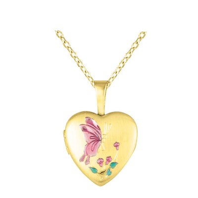 EZ Charms Heart Shaped Locket with Butterfly Necklace