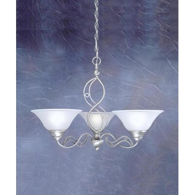 Toltec Lighting Jazz 3 Up Light Chandelier with Drop Glass Shade