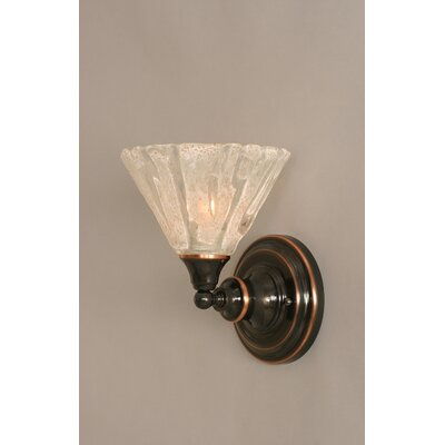 One Light Wall Sconce with Italian Ice Glass in Black Copper