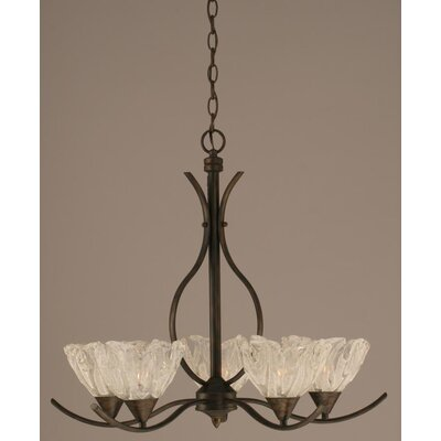 Swoop 5 Light Chandelier with Italian Ice Glass Shade