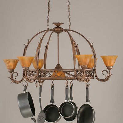 Toltec Lighting Leaf 8 Light Chandelier Pot Rack with Tiger Glass Shade