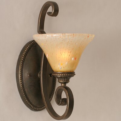 Toltec Lighting Elegante 1 Light Wall Bracket with Glass Shade