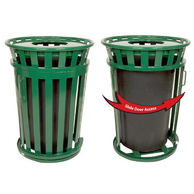 Witt Oakley Collection 36 Gallon Trash Receptacle with Slide Gate & Flat Top