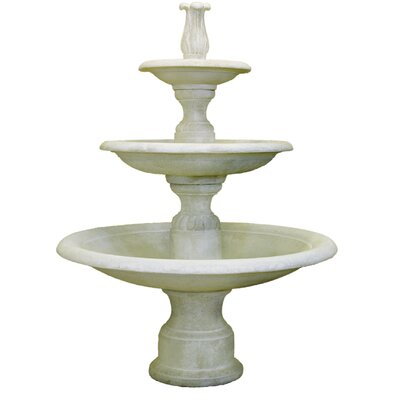 Fiber Stone Balustrade 3 Tiered Fountain