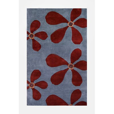 20 - 75 Ariel Light Blue/Dark Red Rug