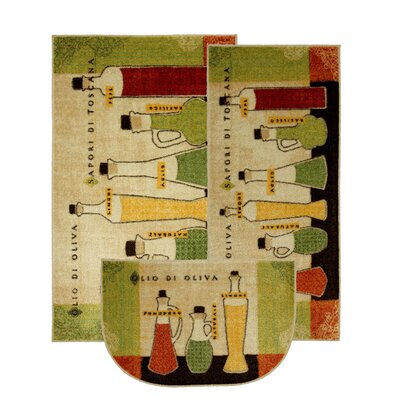 New Wave Kitchen Toscana Novelty Rug (Set of 3)