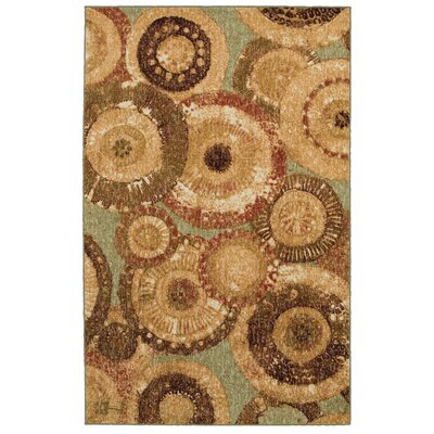 Woodgrain Tan Arranged Medallions Rug