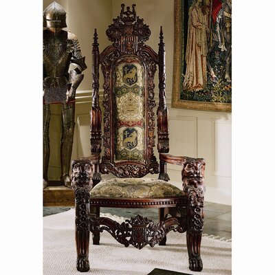 Design Toscano The Lord Raffles Lion Throne Fabric Arm Chair