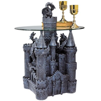 Design Toscano Lord Langton's Castle Glass Topped Sculptural End Table