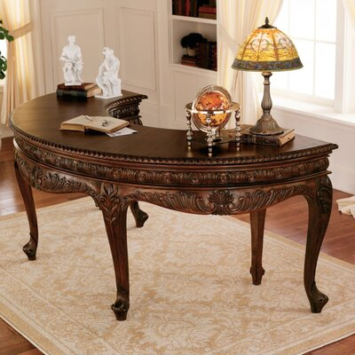 Design Toscano La Voute Grande Crescent Mahogany Executive Writing Desk