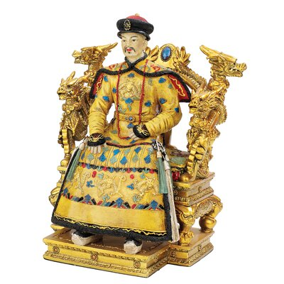 Chinese Emperor on Dragon Throne Statue