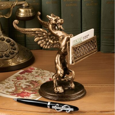 Design Toscano Gryphon Authentic Solid Foundry Iron Casting Card Holder