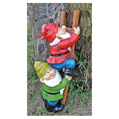 Up The Ladder Climbing Garden Gnome Statue