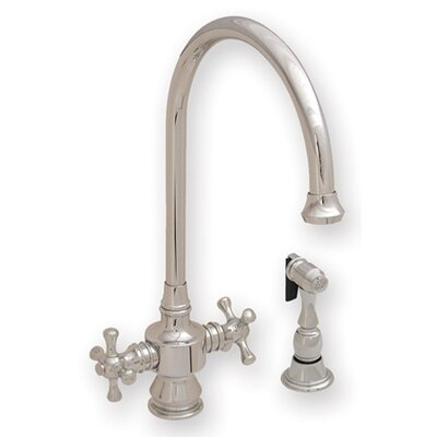 Whitehaus Collection Vintage III Two Dual Handle Single Hole Kitchen Faucet with Cross Handle and Side Spray