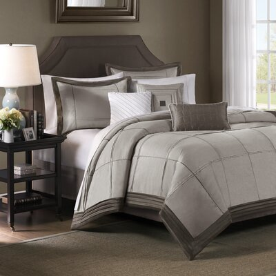 Madison Park Cascade 6 Piece Duvet Set in Taupe