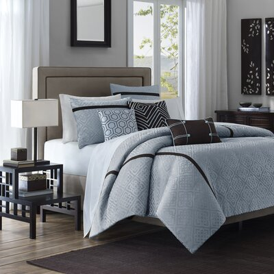 Madison Park Highgate 6 Piece Jacquard Duvet Set in Blue