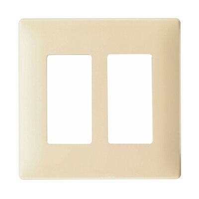 Legrand Two Gang Decorator Screwless Wall Plate in Ivory