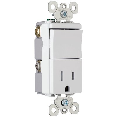 "Legrand TradeMaster 3.81"" 15A 120/125V Decorator One Single Pole Switch and One Single Outlet in Ivory"
