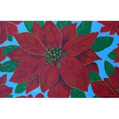 Custom Printed Rugs Seasonal Holiday Poinsettia Doormat
