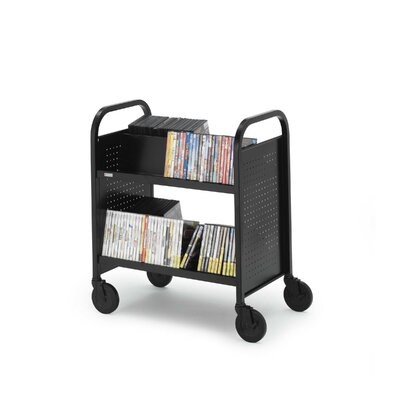 Bretford Manufacturing Inc Contemporary Double-Sided Booktruck with Four Slanted Shelves